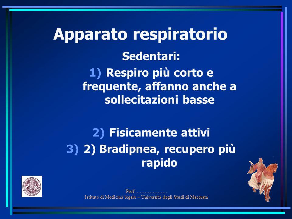 Prof. ………………. Istituto di Medicina legale – Università degli Studi di Macerata Apparato respiratorio Sedentari: 1)Respiro più corto e frequente, affan