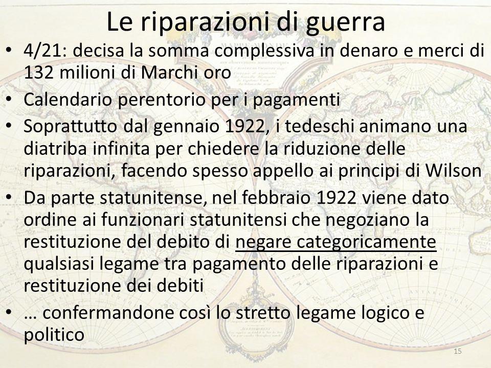 Le riparazioni di guerra 15 4/21: decisa la somma complessiva in denaro e merci di 132 milioni di Marchi oro Calendario perentorio per i pagamenti Sop
