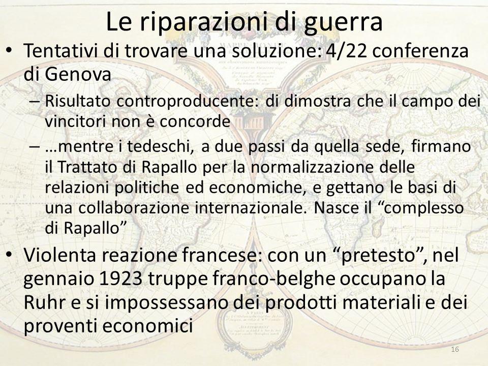 Le riparazioni di guerra 16 Tentativi di trovare una soluzione: 4/22 conferenza di Genova – Risultato controproducente: di dimostra che il campo dei v