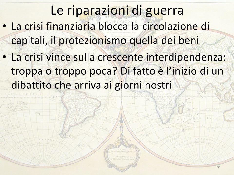Le riparazioni di guerra 28 La crisi finanziaria blocca la circolazione di capitali, il protezionismo quella dei beni La crisi vince sulla crescente i