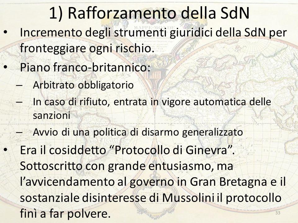 1) Rafforzamento della SdN 33 Incremento degli strumenti giuridici della SdN per fronteggiare ogni rischio. Piano franco-britannico: – Arbitrato obbli