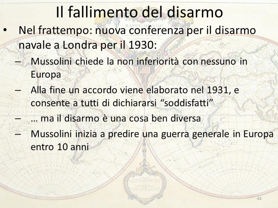 Il fallimento del disarmo 44 Nel frattempo: nuova conferenza per il disarmo navale a Londra per il 1930: – Mussolini chiede la non inferiorità con nes