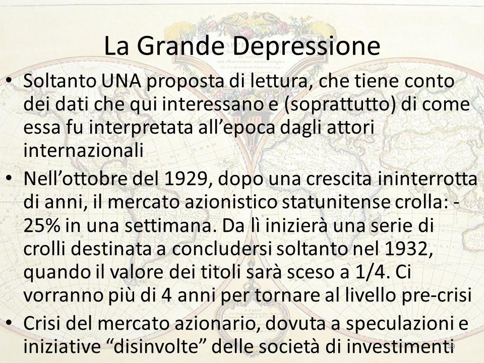 La Grande Depressione Soltanto UNA proposta di lettura, che tiene conto dei dati che qui interessano e (soprattutto) di come essa fu interpretata all'