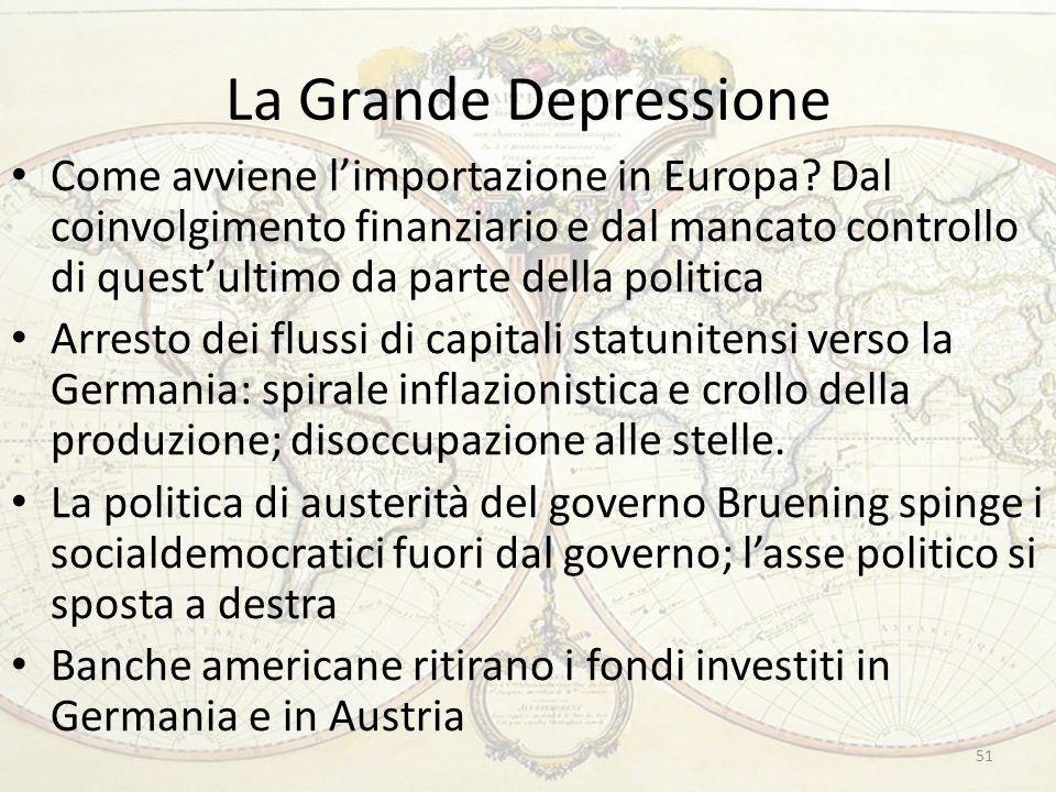 La Grande Depressione Come avviene l'importazione in Europa? Dal coinvolgimento finanziario e dal mancato controllo di quest'ultimo da parte della pol