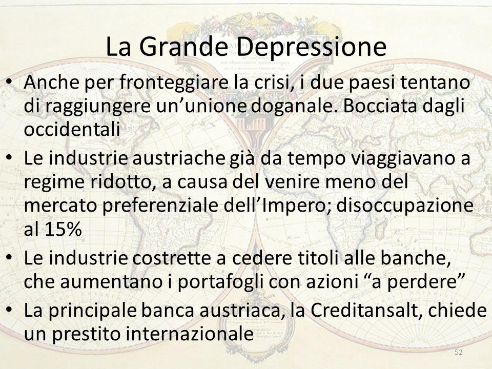 La Grande Depressione Anche per fronteggiare la crisi, i due paesi tentano di raggiungere un'unione doganale.