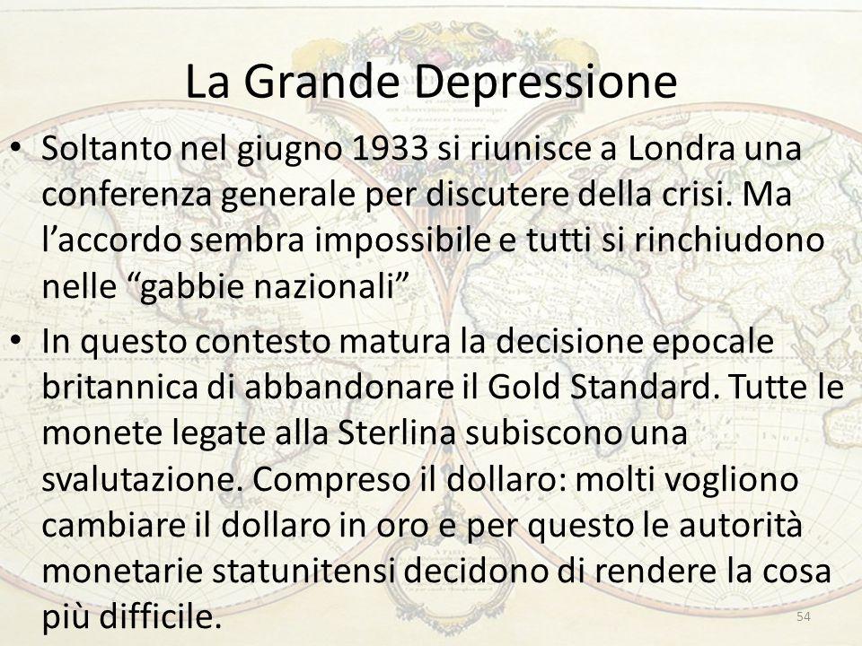 La Grande Depressione Soltanto nel giugno 1933 si riunisce a Londra una conferenza generale per discutere della crisi. Ma l'accordo sembra impossibile