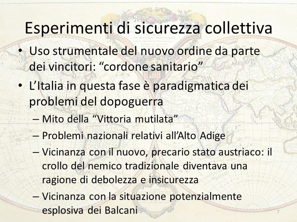 """Esperimenti di sicurezza collettiva 7 Uso strumentale del nuovo ordine da parte dei vincitori: """"cordone sanitario"""" L'Italia in questa fase è paradigma"""