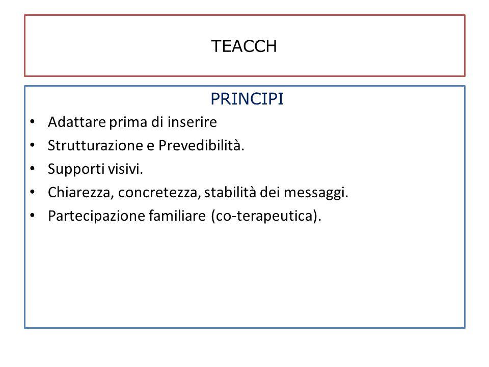 TEACCH PRINCIPI Adattare prima di inserire Strutturazione e Prevedibilità. Supporti visivi. Chiarezza, concretezza, stabilità dei messaggi. Partecipaz