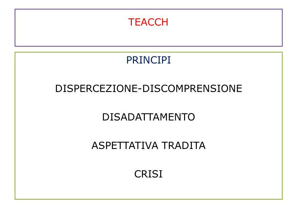 TEACCH PRINCIPI DISPERCEZIONE-DISCOMPRENSIONE DISADATTAMENTO ASPETTATIVA TRADITA CRISI