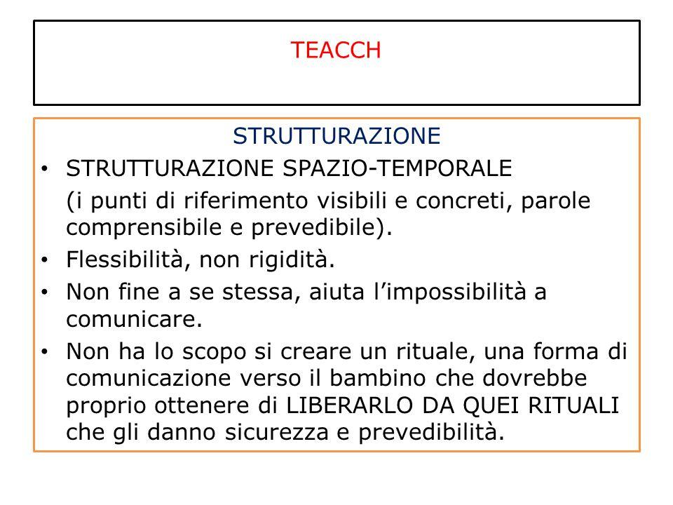 TEACCH STRUTTURAZIONE STRUTTURAZIONE SPAZIO-TEMPORALE (i punti di riferimento visibili e concreti, parole comprensibile e prevedibile). Flessibilità,