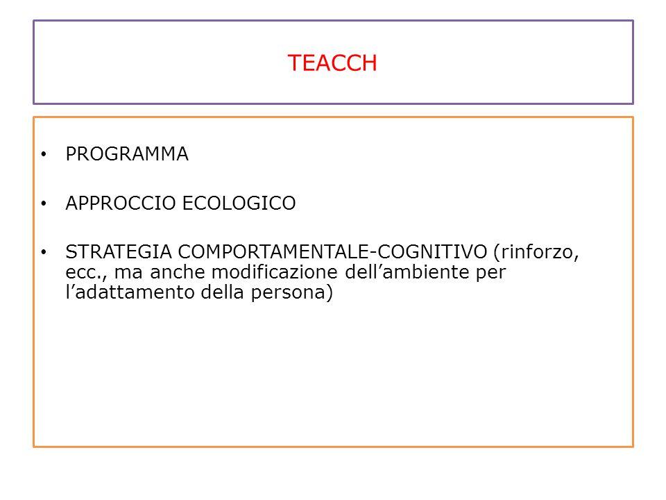 TEACCH PROGRAMMA APPROCCIO ECOLOGICO STRATEGIA COMPORTAMENTALE-COGNITIVO (rinforzo, ecc., ma anche modificazione dell'ambiente per l'adattamento della