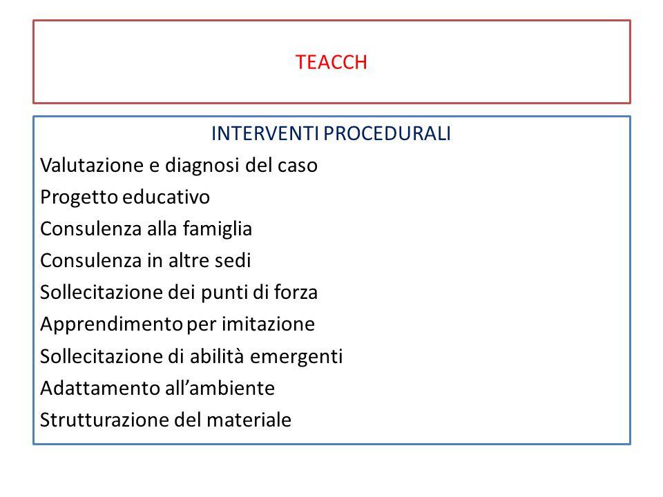 TEACCH INTERVENTI PROCEDURALI Valutazione e diagnosi del caso Progetto educativo Consulenza alla famiglia Consulenza in altre sedi Sollecitazione dei