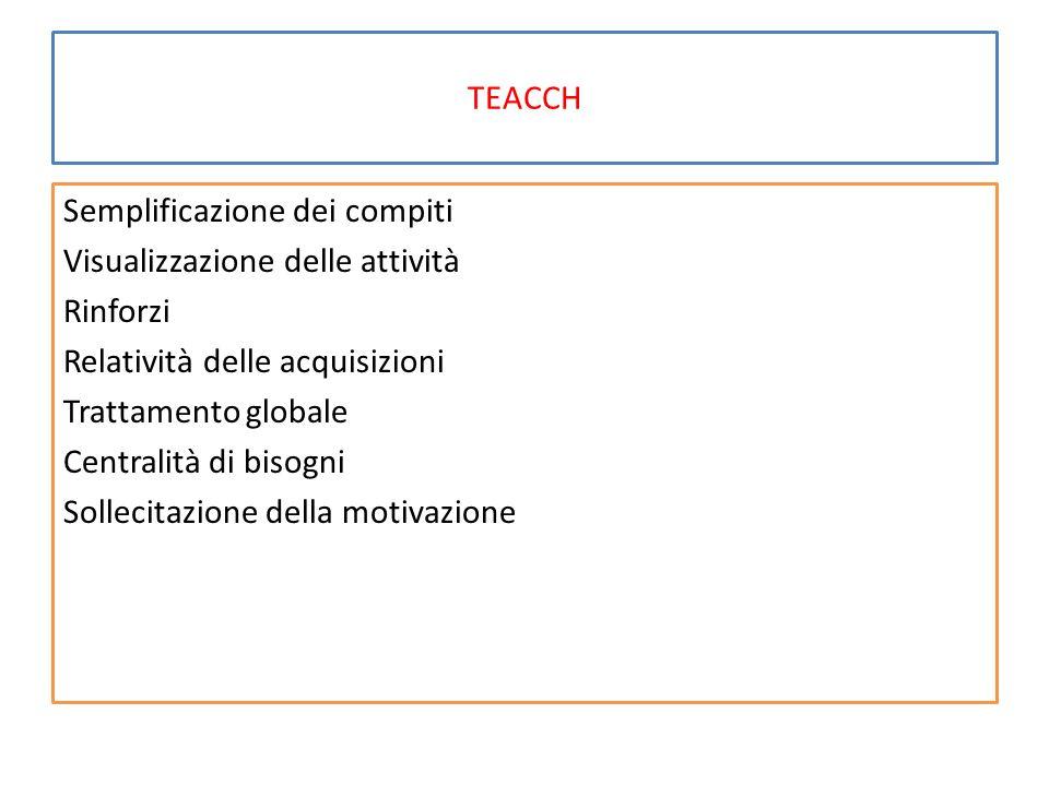 TEACCH Semplificazione dei compiti Visualizzazione delle attività Rinforzi Relatività delle acquisizioni Trattamento globale Centralità di bisogni Sol