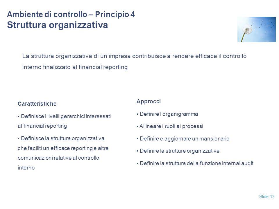 Slide 13 Ambiente di controllo – Principio 4 Struttura organizzativa La struttura organizzativa di un'impresa contribuisce a rendere efficace il contr