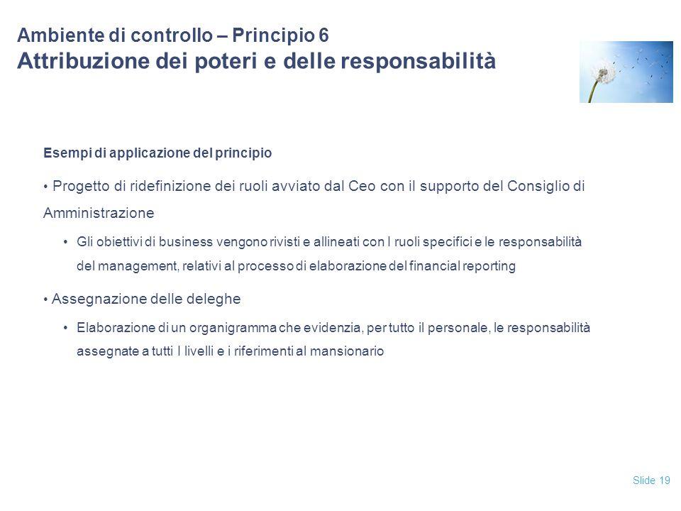 Slide 19 Ambiente di controllo – Principio 6 Attribuzione dei poteri e delle responsabilità Esempi di applicazione del principio Progetto di ridefiniz