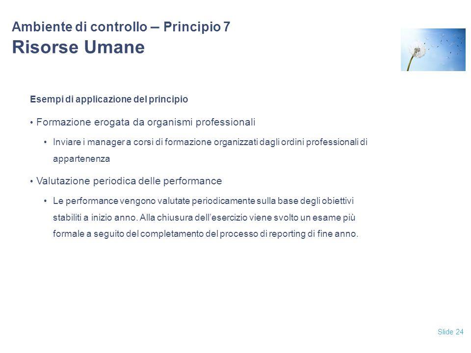 Slide 24 Ambiente di controllo – Principio 7 Risorse Umane Esempi di applicazione del principio Formazione erogata da organismi professionali Inviare