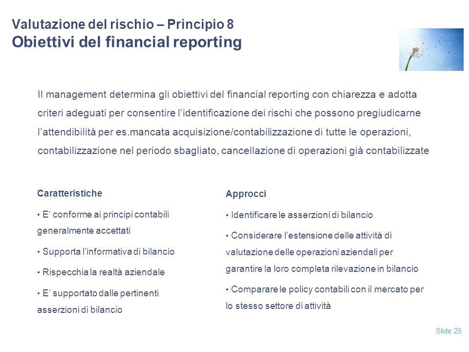Slide 25 Valutazione del rischio – Principio 8 Obiettivi del financial reporting Il management determina gli obiettivi del financial reporting con chi