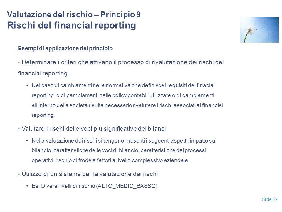 Slide 29 Valutazione del rischio – Principio 9 Rischi del financial reporting Esempi di applicazione del principio Determinare i criteri che attivano