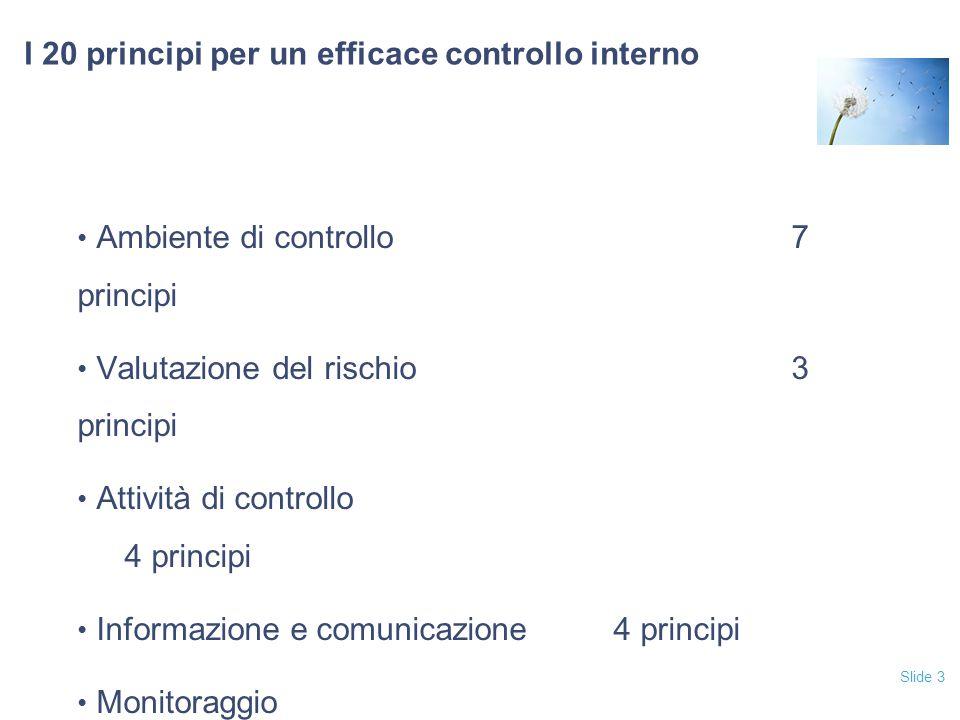 Slide 3 I 20 principi per un efficace controllo interno Ambiente di controllo7 principi Valutazione del rischio3 principi Attività di controllo 4 prin
