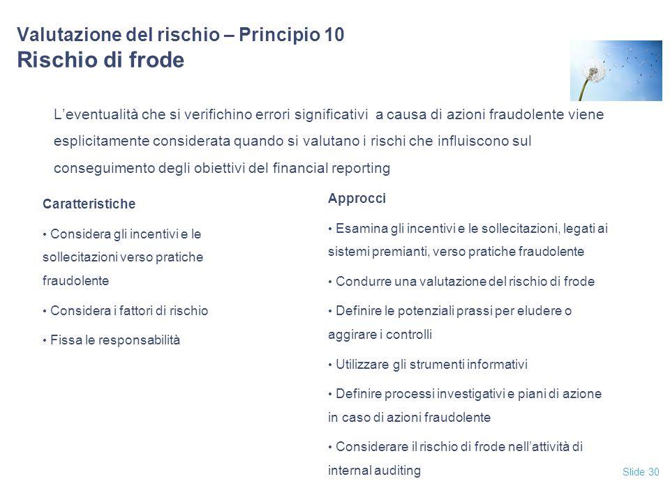 Slide 30 Valutazione del rischio – Principio 10 Rischio di frode L'eventualità che si verifichino errori significativi a causa di azioni fraudolente v