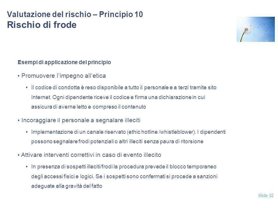 Slide 32 Valutazione del rischio – Principio 10 Rischio di frode Esempi di applicazione del principio Promuovere l'impegno all'etica Il codice di cond