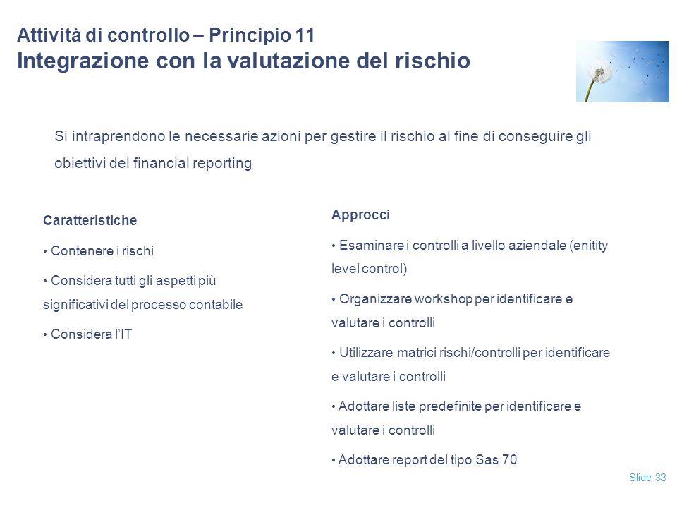 Slide 33 Attività di controllo – Principio 11 Integrazione con la valutazione del rischio Si intraprendono le necessarie azioni per gestire il rischio