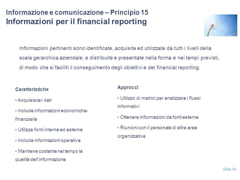 Slide 44 Informazione e comunicazione – Principio 15 Informazioni per il financial reporting Informazioni pertinenti sono identificate, acquisite ed u