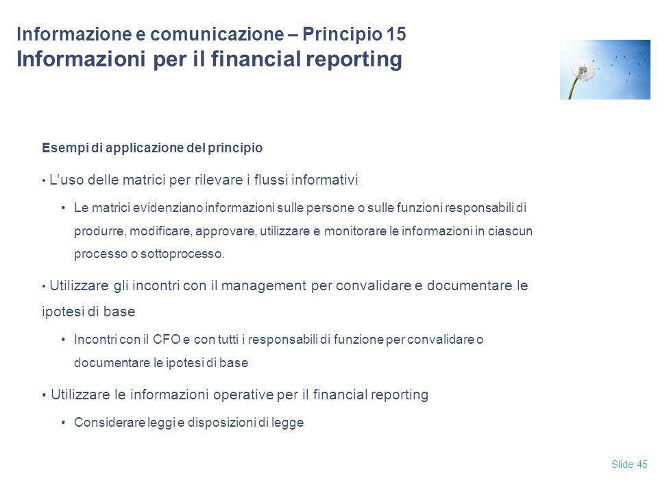 Slide 45 Informazione e comunicazione – Principio 15 Informazioni per il financial reporting Esempi di applicazione del principio L'uso delle matrici