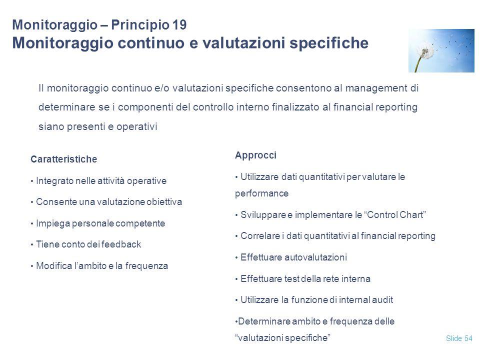 Slide 54 Monitoraggio – Principio 19 Monitoraggio continuo e valutazioni specifiche Il monitoraggio continuo e/o valutazioni specifiche consentono al