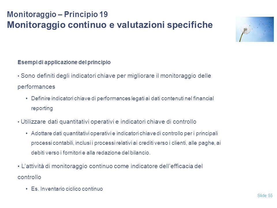 Slide 55 Monitoraggio – Principio 19 Monitoraggio continuo e valutazioni specifiche Esempi di applicazione del principio Sono definiti degli indicator