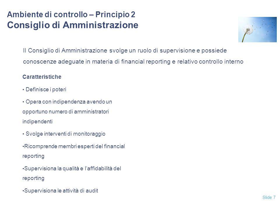 Slide 7 Ambiente di controllo – Principio 2 Consiglio di Amministrazione Il Consiglio di Amministrazione svolge un ruolo di supervisione e possiede co