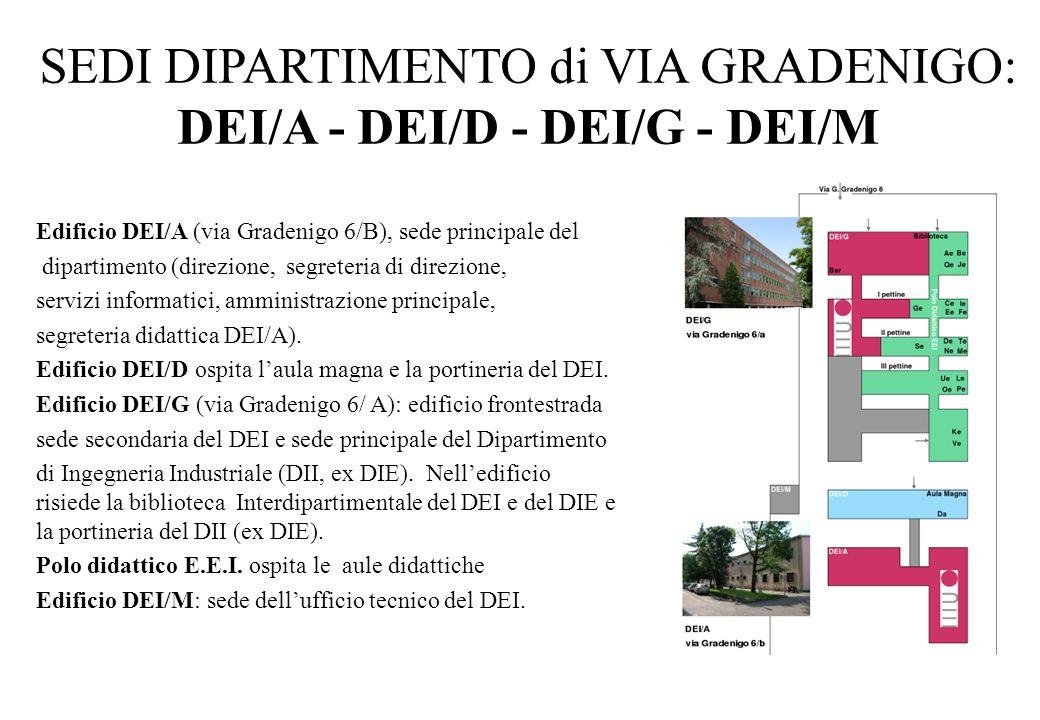SEDI DIPARTIMENTO di VIA GRADENIGO: DEI/A - DEI/D - DEI/G - DEI/M Edificio DEI/A (via Gradenigo 6/B), sede principale del dipartimento (direzione, seg