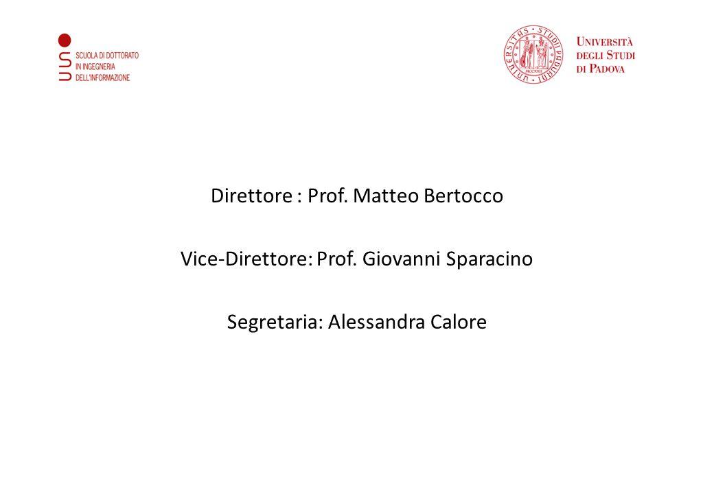 Direttore : Prof. Matteo Bertocco Vice-Direttore: Prof. Giovanni Sparacino Segretaria: Alessandra Calore