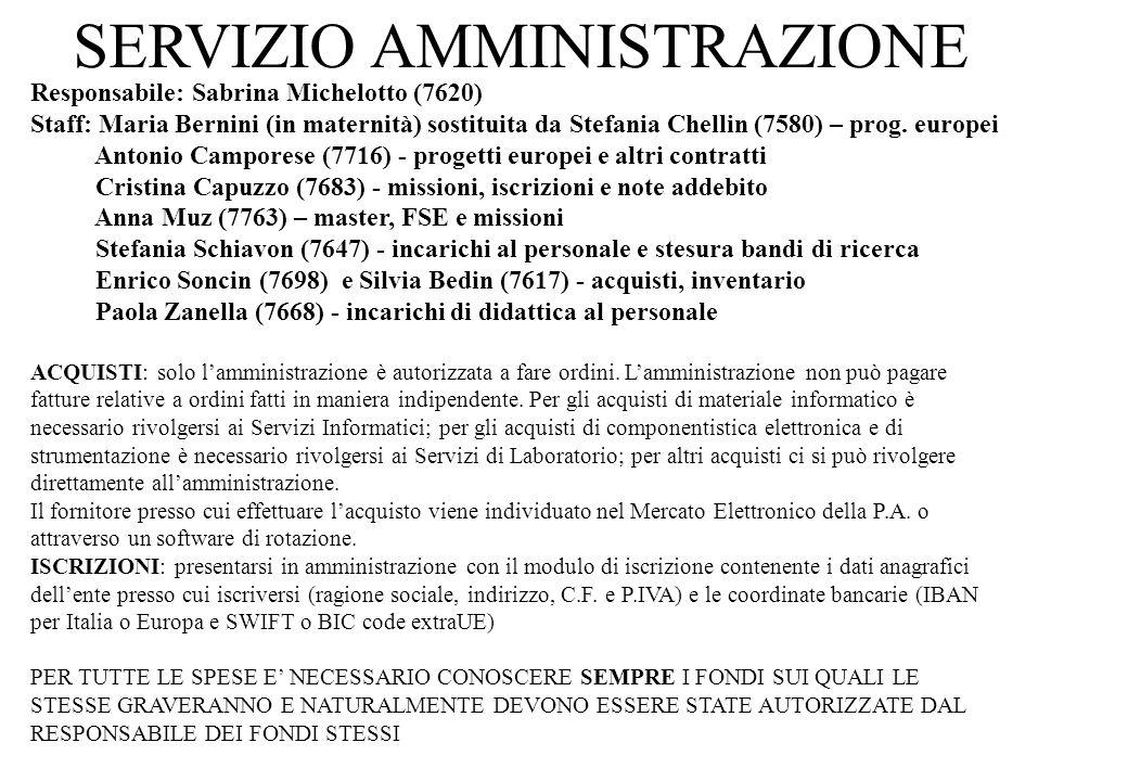 SERVIZIO AMMINISTRAZIONE Responsabile: Sabrina Michelotto (7620) Staff: Maria Bernini (in maternità) sostituita da Stefania Chellin (7580) – prog. eur