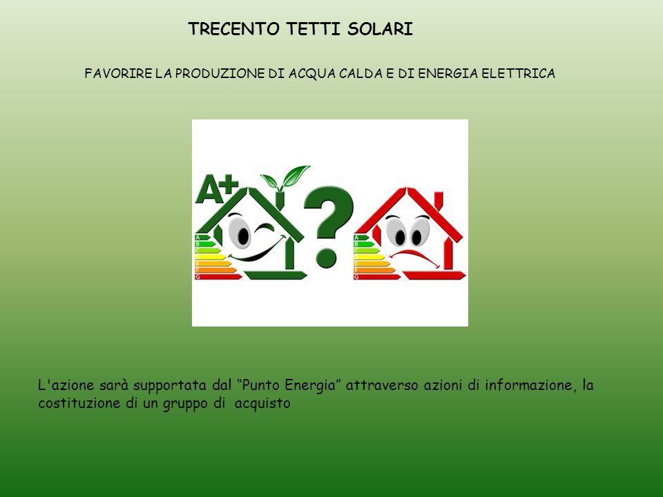 TRECENTO TETTI SOLARI L azione sarà supportata dal Punto Energia attraverso azioni di informazione, la costituzione di un gruppo di acquisto FAVORIRE LA PRODUZIONE DI ACQUA CALDA E DI ENERGIA ELETTRICA