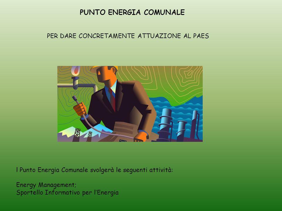 PUNTO ENERGIA COMUNALE l Punto Energia Comunale svolgerà le seguenti attività: Energy Management; Sportello Informativo per l'Energia PER DARE CONCRETAMENTE ATTUAZIONE AL PAES