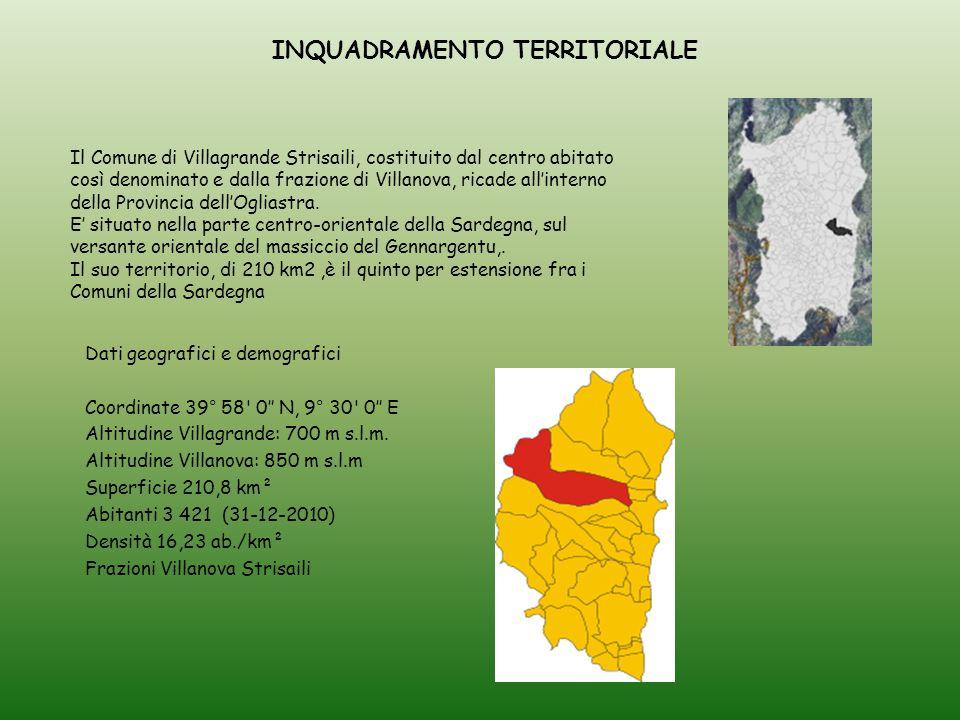 Il Comune di Villagrande Strisaili, costituito dal centro abitato così denominato e dalla frazione di Villanova, ricade all'interno della Provincia dell'Ogliastra.