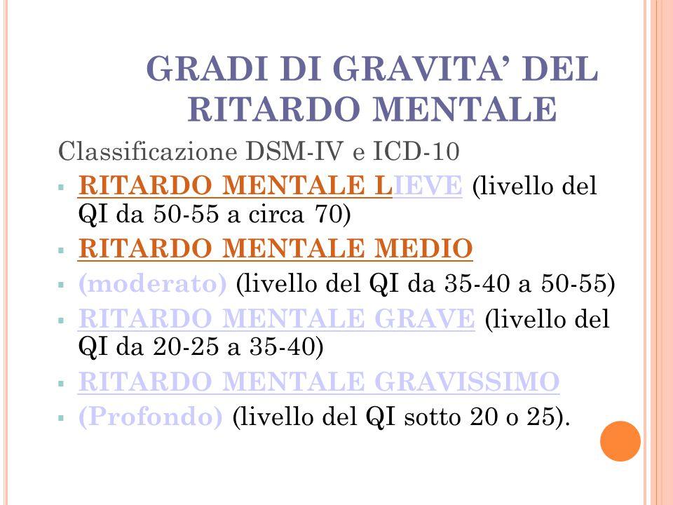 GRADI DI GRAVITA' DEL RITARDO MENTALE Classificazione DSM-IV e ICD-10  RITARDO MENTALE LIEVE (livello del QI da 50-55 a circa 70)  RITARDO MENTALE L