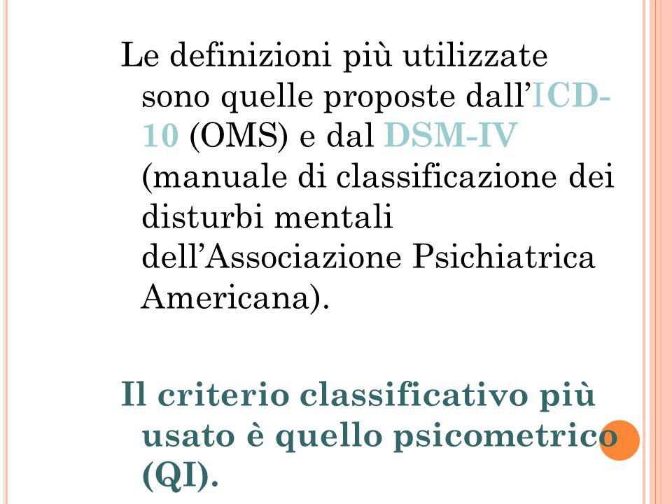 Le definizioni più utilizzate sono quelle proposte dall'I CD- 10 (OMS) e dal DSM-IV (manuale di classificazione dei disturbi mentali dell'Associazione