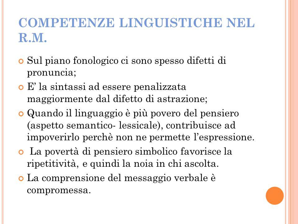 COMPETENZE LINGUISTICHE NEL R.M. Sul piano fonologico ci sono spesso difetti di pronuncia; E' la sintassi ad essere penalizzata maggiormente dal difet
