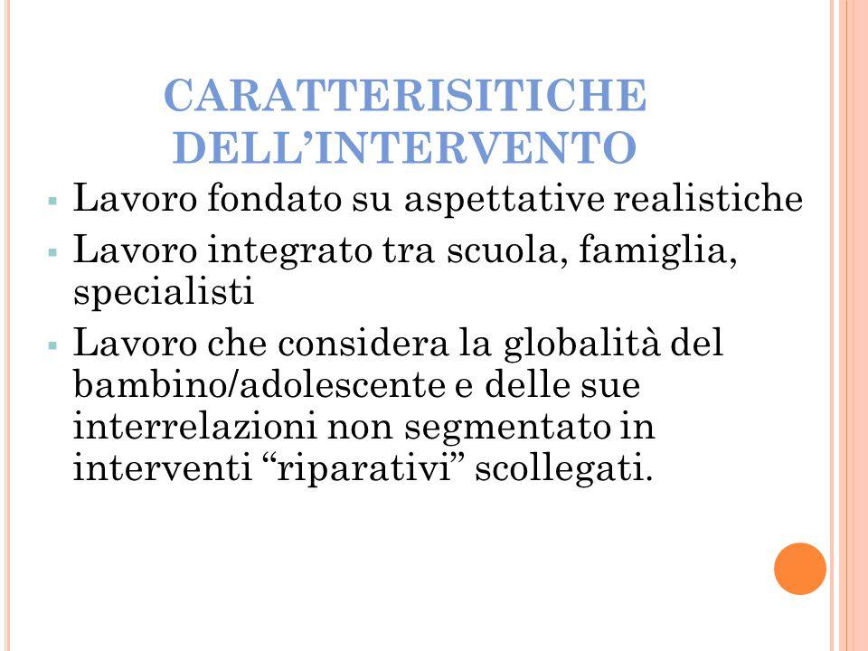 CARATTERISITICHE DELL'INTERVENTO  Lavoro fondato su aspettative realistiche  Lavoro integrato tra scuola, famiglia, specialisti  Lavoro che conside