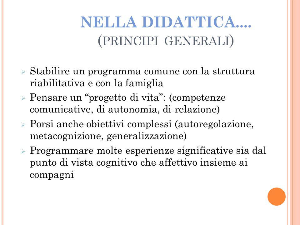 """NELLA DIDATTICA.... ( PRINCIPI GENERALI )   Stabilire un programma comune con la struttura riabilitativa e con la famiglia  Pensare un """"progetto di"""