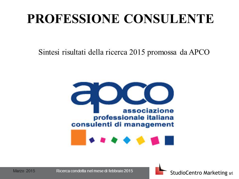 Marzo 2015 Ricerca condotta nel mese di febbraio 2015 PROFESSIONE CONSULENTE Sintesi risultati della ricerca 2015 promossa da APCO