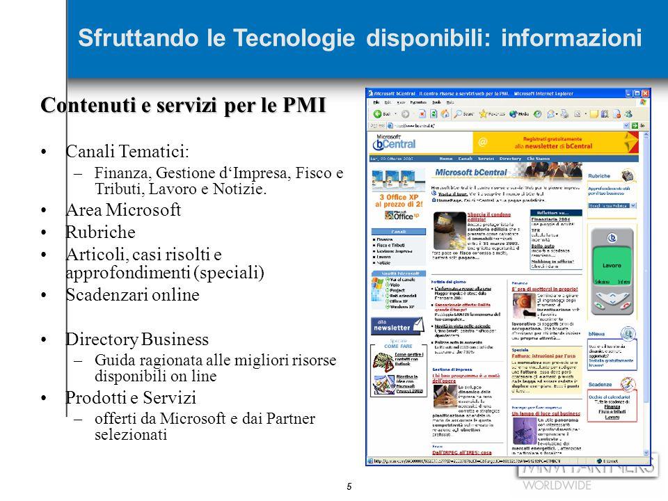 5 Contenuti e servizi per le PMI Canali Tematici: –Finanza, Gestione d'Impresa, Fisco e Tributi, Lavoro e Notizie. Area Microsoft Rubriche Articoli, c