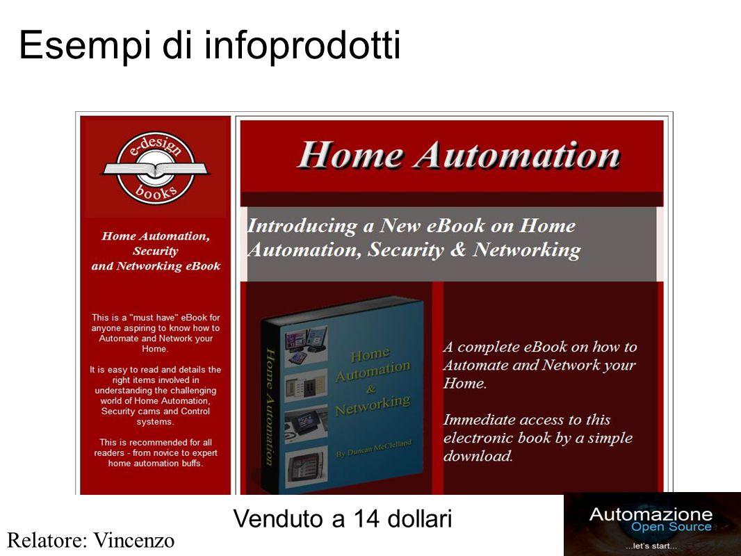 Esempi di infoprodotti Venduto a 14 dollari Relatore: Vincenzo