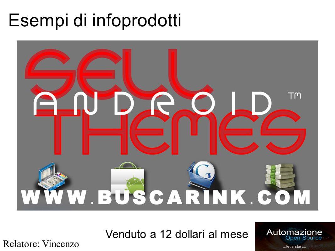 Esempi di infoprodotti Venduto a 12 dollari al mese Relatore: Vincenzo