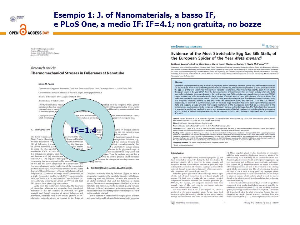 Esempio 1: J. of Nanomaterials, a basso IF, e PLoS One, a medio IF: IF=4.1; non gratuita, no bozze IF=1.4