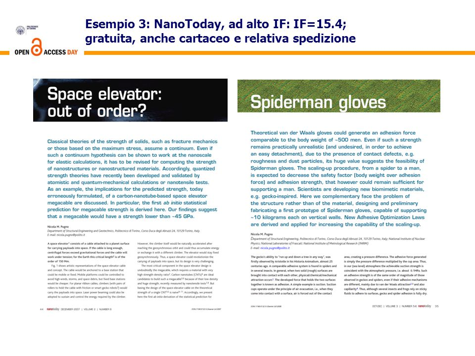 Esempio 3: NanoToday, ad alto IF: IF=15.4; gratuita, anche cartaceo e relativa spedizione