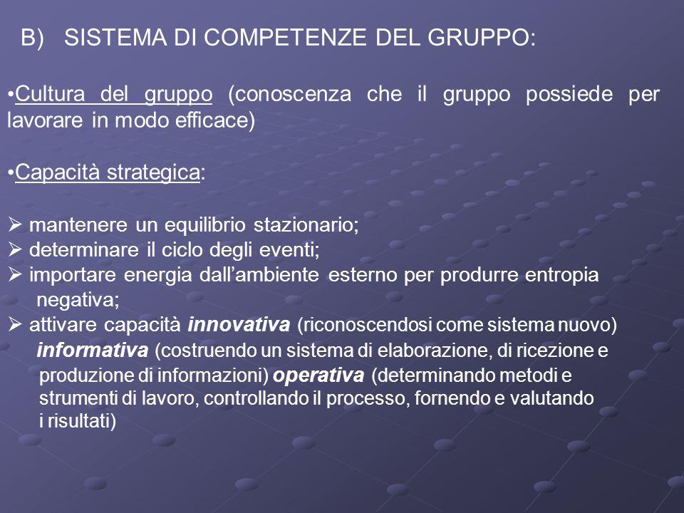 B) SISTEMA DI COMPETENZE DEL GRUPPO: Cultura del gruppo (conoscenza che il gruppo possiede per lavorare in modo efficace) Capacità strategica:  mante