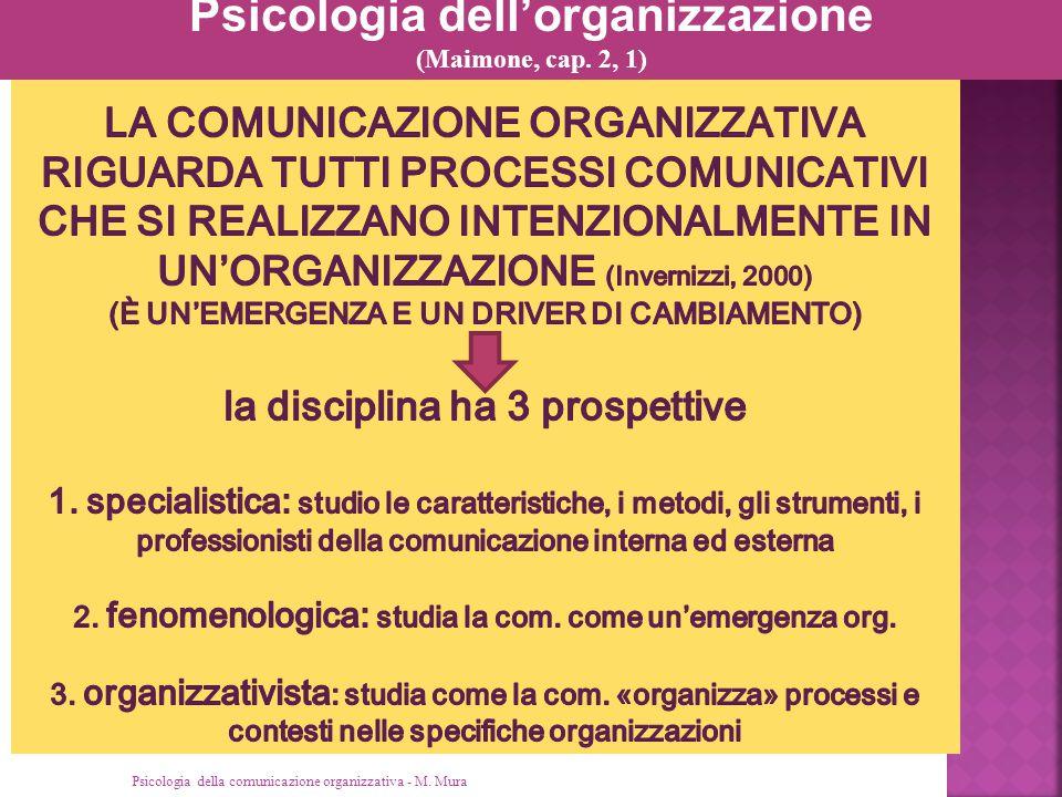 Psicologia della comunicazione organizzativa M.